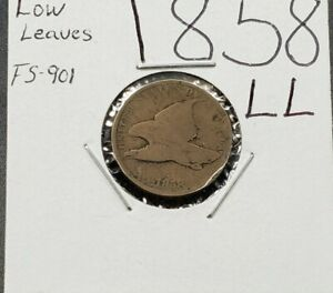 1858 LL Flying Eagle Cent Penny Coin CHOICE AG FS-901 Low Leaves Variety