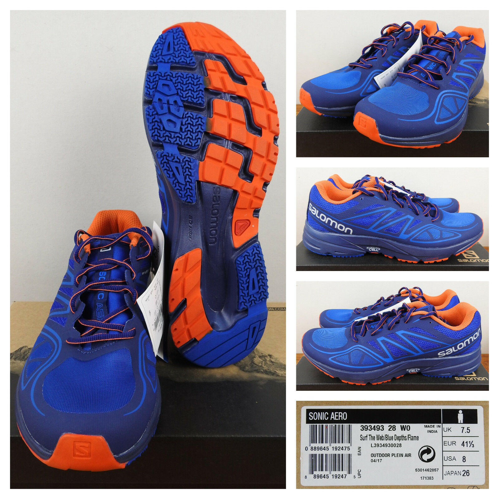 Salomon Uomo Running Shoes Trail Cross Country Breathable Mesh Blue Orange 8