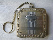 Antique Gold & Silver T Floral Finger Ring Bar Chain Dance 1920s Flapper Compact