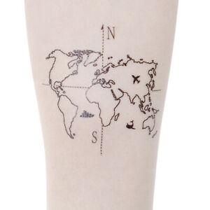 Waterproof-Temporary-Fake-Tattoo-Stickers-Vintage-Hand-Painted-Map-Geometric-JE