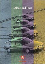 Citroen Colour & Trim 1991-92 UK Market Sales Brochure AX ZX BX XM