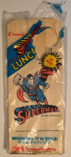 10 SUPERMAN LUNCH BAGS 1940 Carousel Prods 'Brown Bag It In Style' UNUSED MIP