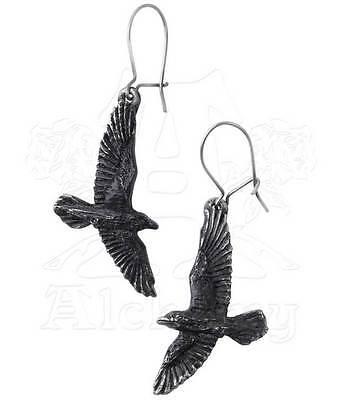 New Alchemy Gothic Black Raven Bird Earrings Pair Pewter E333