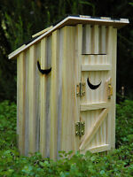 Miniature Dollhouse Fairy Garden Furniture Natural Wood Outhouse W/ Moon