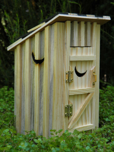 Miniature Dollhouse FAIRY GARDEN Furniture ~ Natural Wood Outhouse w// Moon ~ NEW