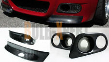 CARBON FIBER FRONT BUMPER LIP SPLITTER+H FOG LIGHT COVERS COMBO FOR BMW E46 M3