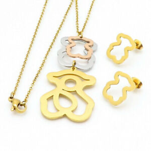 2019 Hot Stainless steel Inlaid pearls Shell Bear Necklace Earrings set