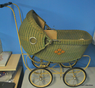 Vintage Baby Doll Carriage Stroller Buggy Cloth Amp Wicker