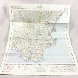 1967 Vintage Militare Mappa Di Torquay Dartmouth Salcombe Paignton Newton Abbot