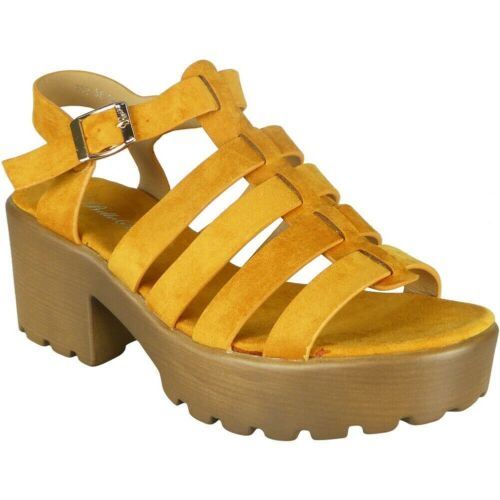 Ladies Mid Heel Chunky Shoes Womens Peeptoe Buckle Strappy Summer Sandals Size