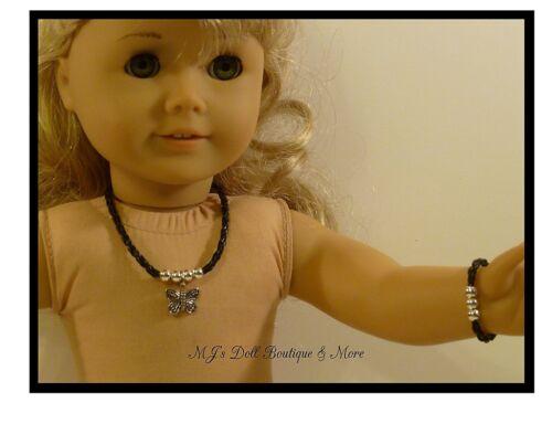 Black /& Silver Butterfly Necklace /& Bracelet Set fits American Girl Doll