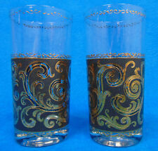 RARE Lot of 2 CULVER EBONY BAROQUE Scroll Tumblers BLACK & 22K GOLD Glasses VGC