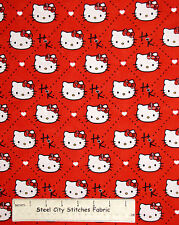 Hello Kitty Cat Character Red Cotton Fabric Springs CP51136 Plaid Dimond YARD