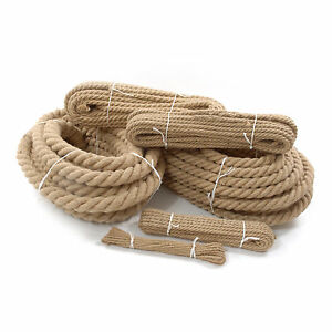 Natural Jute Hessian Rope Cord Braided Twisted Boating Sash - Garden decking rope