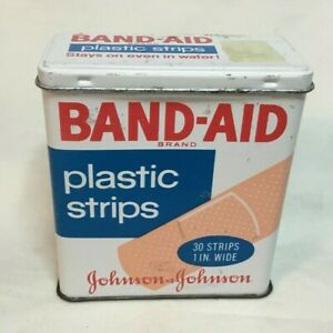 Vintage-Advertising-Tin-JOHNSON-amp-JOHNSON-BAND-AID-Tin-30-strips-empty-tin