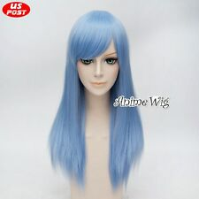 Anime Light Blue Long Synthetic Women Basic Straight Cosplay Wig Heat Resistant
