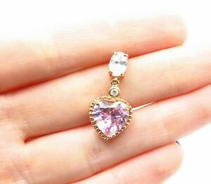 925 Sterling Silver - Pink Cubic Zirconia Rose Gold Plated Heart Pendant- P10044