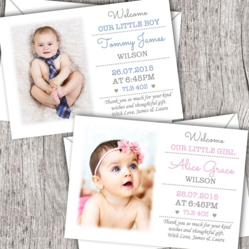 Personalised New Baby Photo Thank You Cards ~ Announcement//Christening Boy//Girl