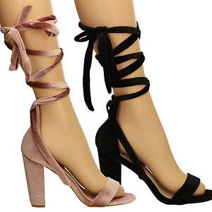 bf5d4efb886 Womens Block Heel Velvet Wrap Strap Sandal Ladies Shoes Rose Gold ...