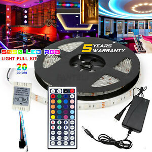 5M-RGB-5050-Waterproof-300-LED-Strip-Light-44-Key-Remote-12V-US-Power-Full-Kit