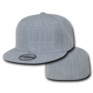 Heather Gray Fitted Flat Bill Plain Solid Blank Baseball Ball Cap ... 2d06f0210fb