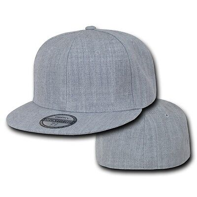 Heather Gray Fitted Flat Bill Plain Solid Blank Baseball Ball Cap Caps Hat Hats