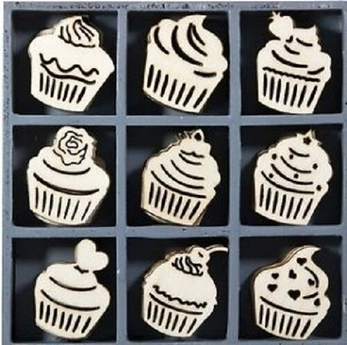 BOX OF 45 WOODEN SHAPES ORNAMENTS CUPCAKES 1012
