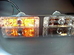 FRECCE-frontali-per-VW-Polo-86c-COUPE-livelli-posteriore-cromo-vetro-chiaro-luci-di-posizione-Europ