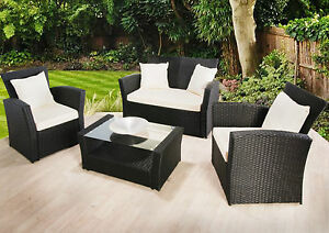 Garden Furniture Sofa Set Black Luxury Rattan 4 Seater