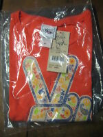 Cruel Girl Youth Orange Peace Pattern Short Sleeve Shirt Size Xs