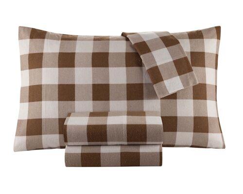 Flannel Sheet Set by DELANNA 100/% Cotton Queen, Buffalo Check Brown