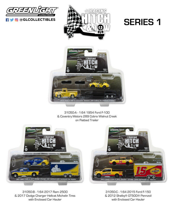 RACING HITCH & TOW SERIES 1 SET OF 3 1 64 DIECAST CARS BY GREENLIGHT 31050 A B C