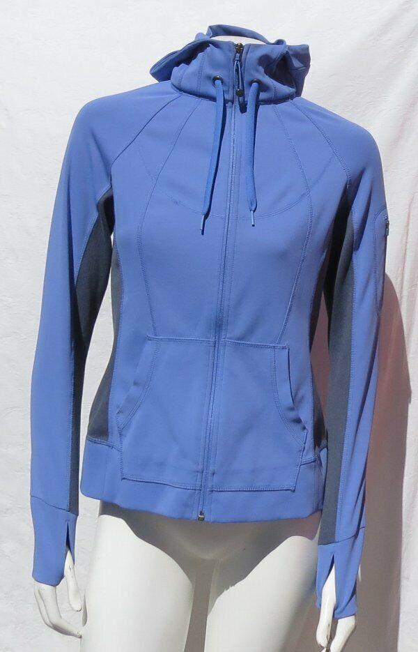 Athleta Damen Violett Grau Vlies Stärke Kapuze Reißverschluss Jacke Top US S