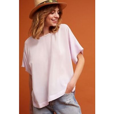Anthropologie Textured Silk Tee NWT new size PXS  lavender color