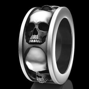 Herren-Hip-Hop-Ring-Edelstahl-Schaedel-Punk-Gothic-Ring-Kreative-Schmuck-Geschenk