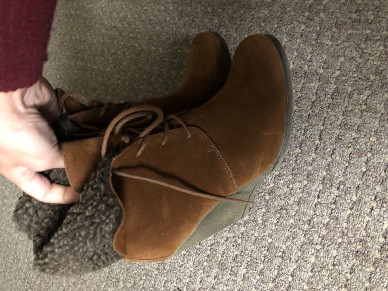RESERVED RESERVED RESERVED Ginger Suede Look With marron Fur Wedge chaussures-  Taille  6 EUR 39 d9b21e