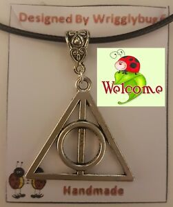 Harry-Potter-Deathly-Hallows-Silver-Pendant-with-Black-Skin-Necklace-AUS-SELL-2W