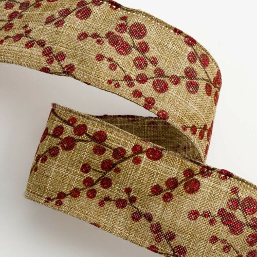 Christmas Hessian Burlap Printed Ribbon Presents Gifts Xmas Three Decorations