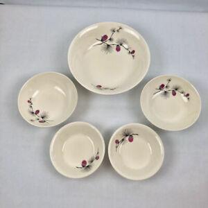 Vtg-Canonsburg-Pottery-WILD-CLOVER-Bowls-2-Fruit-2-Cereal-1-Veg-Serv