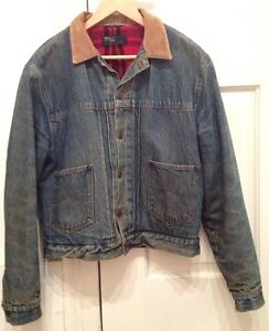 66f4d9ecb4 Vintage Polo Ralph Lauren Mens Jean Denim Red Wool Country Jacket ...
