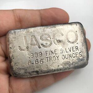 JASCO-6-66-OZ-999-SILVER-VINTAGE-OLD-POURED-INGOT-ART-BAR-RARE
