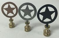 Lamp Finials, Rustic Tin, Star In Circle, Western, Texas