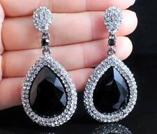 SPARKLE AUSTRIAN CRYSTAL RHINESTONE CHANDELIER DANGLE EARRINGS PROM E2091B BLACK