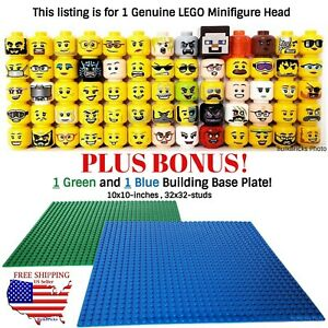 1-LEGO-Minifigure-Head-PLUS-BONUS-1-Green-and-1-Blue-10x10-inch-32x32-baseplate