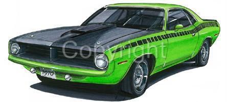 1970 Plymouth Cuda Muscle Car Tshirt #4777 barracuda automotive art