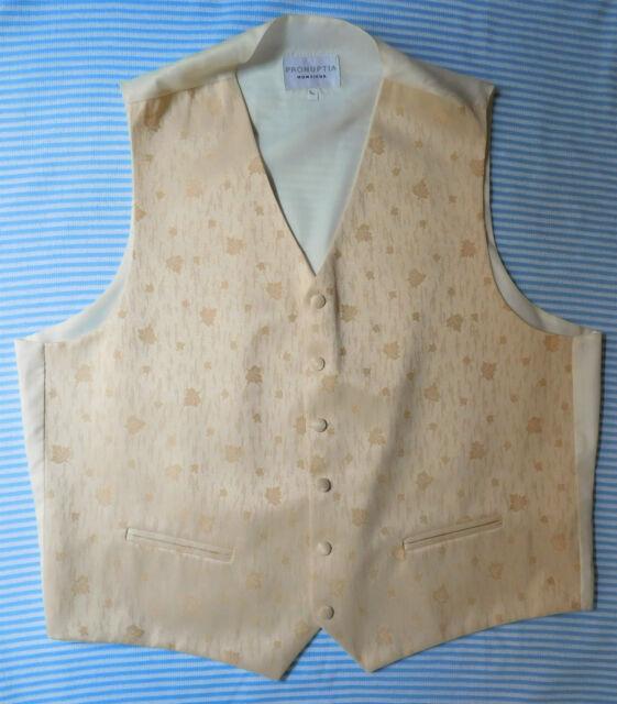 Pronuptia brocade waistcoat gold leaves Cotton mix NEW tuxedo vest 2XL 3XL 46-48