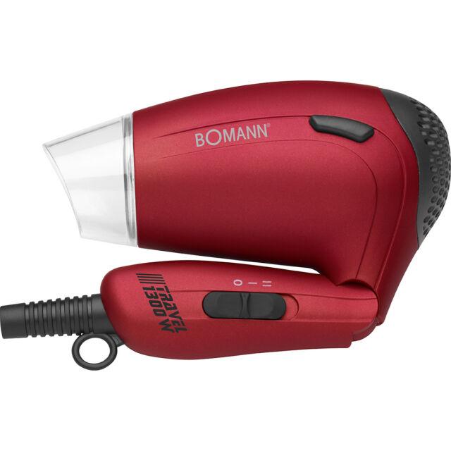 Bomann HTD8005 - Secador de pelo de viaje con difusor, mango plegable, rojo