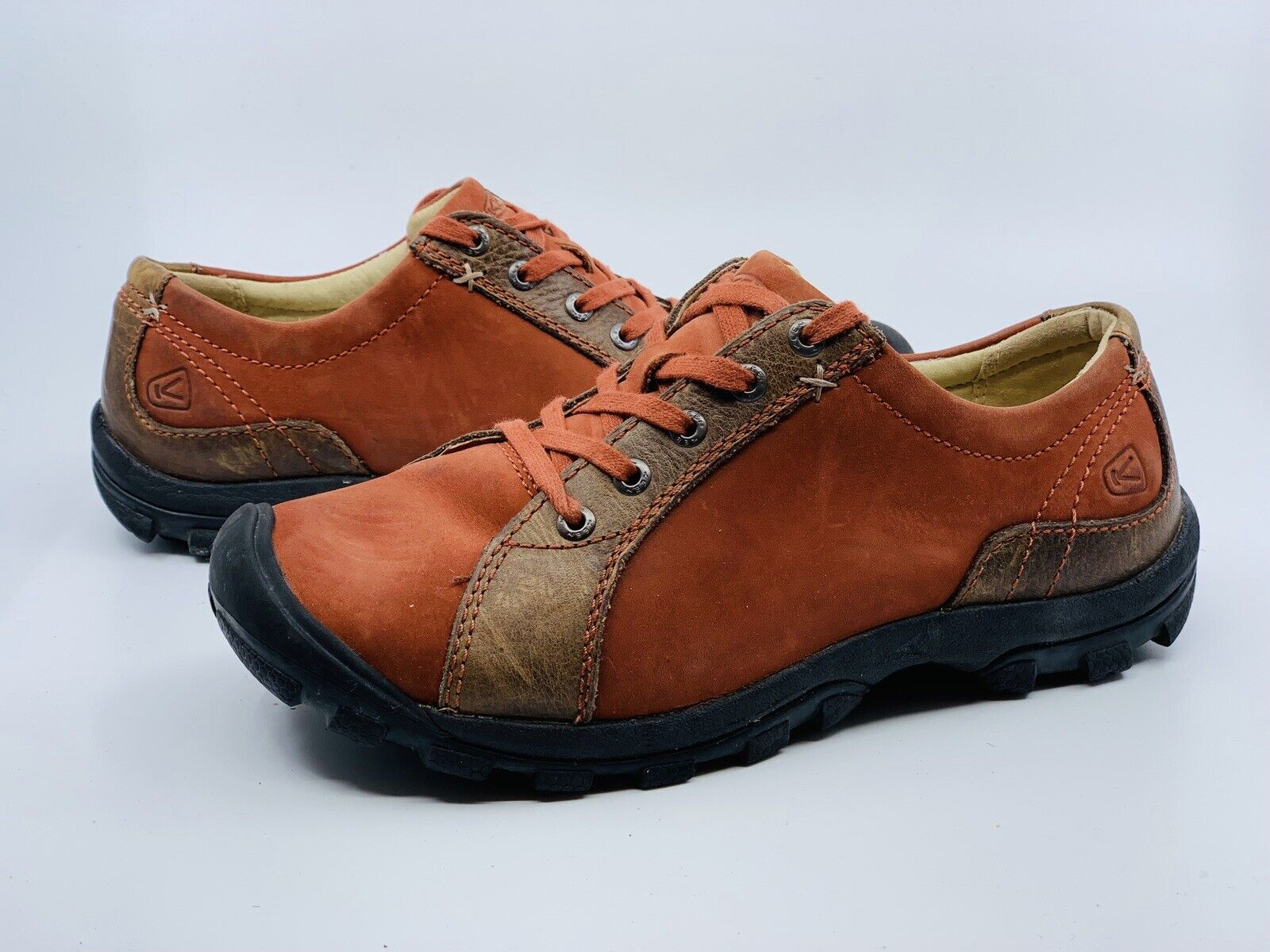 Keen Women's Sisters Lace Walking Shoes Brown Leather Casual Shoes Size 7.5