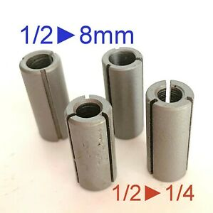 """4 pc Collet Reducer Bushing for 8mm, 1/4"""" Router Bit S"""