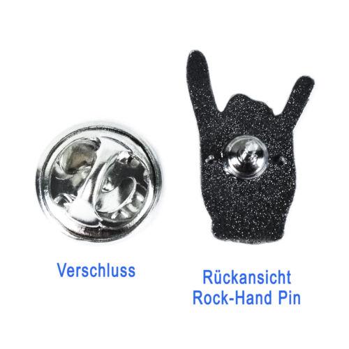 18mm o Pin Rock Hand Größe 22mm Pommesgabel Anstecker Anstecknadel